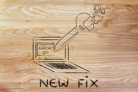probleml�sung: new fix and troubleshooting malfunctions: oversized wrench coming out of laptop screen Lizenzfreie Bilder