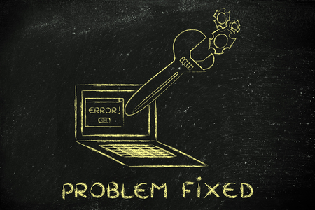 troubleshooting: fixing computer problems and troubleshooting malfunctions: oversized wrench coming out of laptop screen