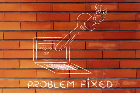 solucion de problemas: la soluci�n de problemas inform�ticos y el mal funcionamiento de soluci�n de problemas: Llave de gran tama�o que sale de la pantalla del port�til
