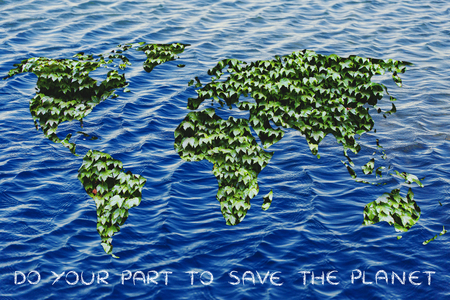 environmental awareness: ecology, green economy and environmental awareness: green leaves world on ocean background