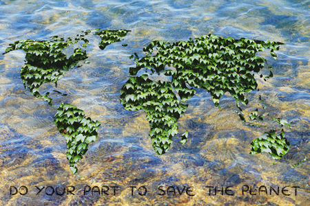 land management: ecology, green economy and environmental awareness: green leaves world on ocean background