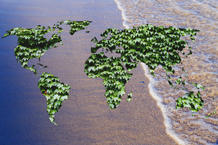 intact: green leaves world on ocean background, a world with intact nature Stock Photo