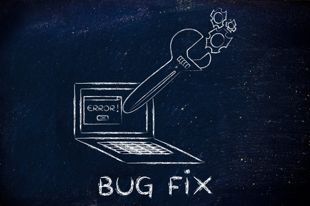 probleml�sung: bug fix and troubleshooting malfunctions: oversized wrench coming out of laptop screen Lizenzfreie Bilder