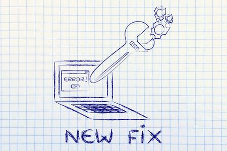 solucion de problemas: Nuevo arreglo y soluci�n de problemas mal funcionamiento: Llave de gran tama�o que sale de la pantalla del port�til Foto de archivo