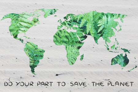 desertification: do your part to save the planet from desertification: world map with sand background (no water) Stock Photo
