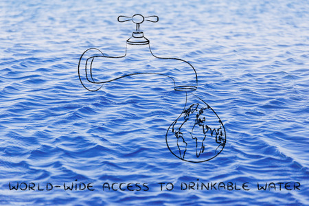 drinkable: planet earth in a droplet from the tap,  providing world-wide access to drinkable water Stock Photo