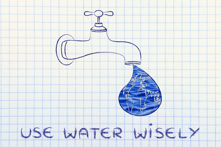 corporate waste: planet earth in a droplet from the tap (with ocean fill), illustration about using water wisely