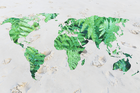 desertification: desertification and environmental awareness: world with sand instead of oceans Stock Photo