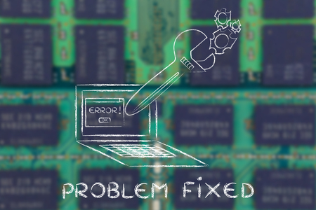 probleml�sung: fixing computer problems and troubleshooting malfunctions: oversized wrench coming out of laptop screen