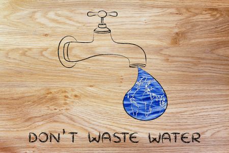 avoiding: planet earth in a droplet from the tap (with ocean fill), illustration about avoiding water waste
