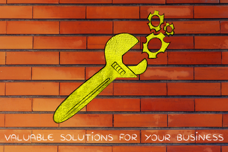 vision repair: wrench made of gold repairing a mechanism, metaphor of valuable solutions for your business Stock Photo