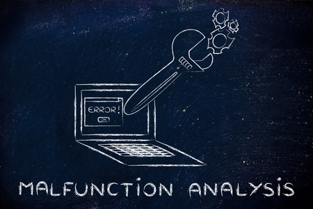 malfunction: malfunction analysis: oversized wrench coming out of laptop screen