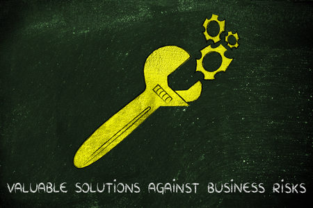 vision repair: wrench made of gold repairing a mechanism, metaphor of valuable solutions against business risks