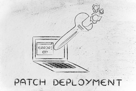 solucion de problemas: patch deployment and troubleshooting malfunctions: oversized wrench coming out of laptop screen