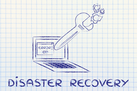 data recovery: disaster recovery: oversized wrench coming out of laptop screen