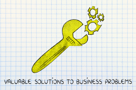 vision repair: wrench made of gold repairing a mechanism, metaphor of valuable solutions to business problems Stock Photo