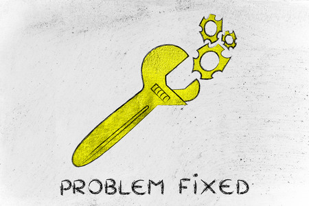 vision repair: wrench made of gold repairing a mechanism, metaphor of problem fixed