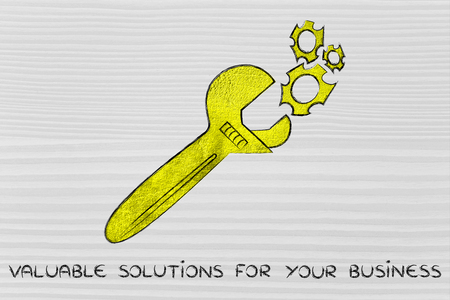 valuable: wrench made of gold repairing a mechanism, metaphor of valuable solutions for your business Stock Photo