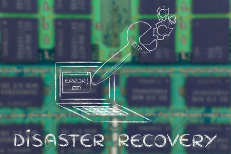 disaster recovery: disaster recovery: oversized wrench coming out of laptop screen