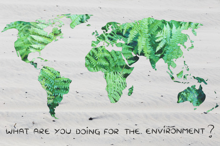 no water: what are you doing to save the planet? world map with sand background (no water)