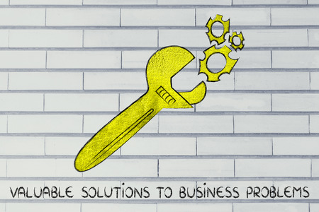 értékes: wrench made of gold repairing a mechanism, metaphor of valuable solutions to business problems Stock fotó