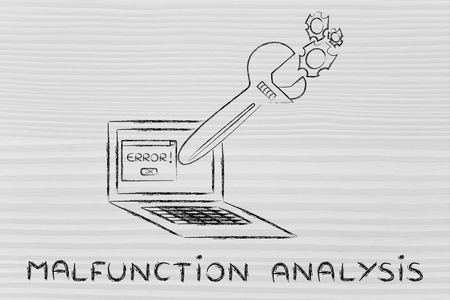 malfunzione: malfunction analysis: oversized wrench coming out of laptop screen