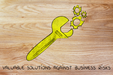 valuable: wrench made of gold repairing a mechanism, metaphor of valuable solutions against business risks