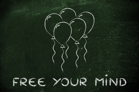 freeing: psychology and feelings: concept of freeing your mind, balloon metaphor