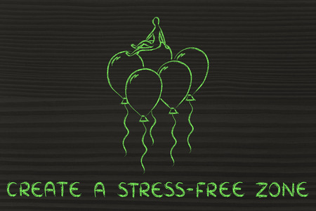 meditation help: create a stress-free zone, metaphor of person sitting on balloons Stock Photo