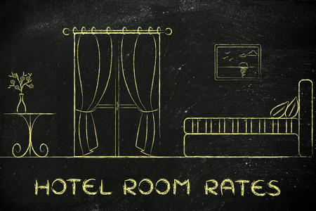 accomodation: travel and accomodation industry: concept of hotel rates, illustration of room interior
