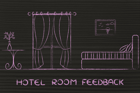 hotel reviews: travel and accomodation industry: concept of hotel room feedback, illustration of room interior