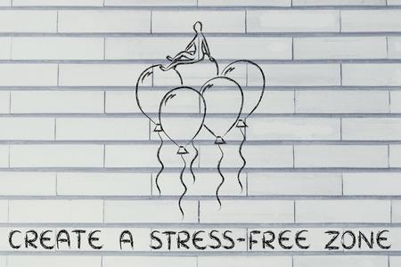 persona seduta: creare una zona senza stress, metafora della persona seduta su palloncini