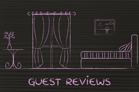 reviews: hotel guest reviews, illustration of room interior
