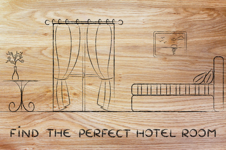 accomodation: travel and accomodation industry: find the perfect hotel, illustration of room interior