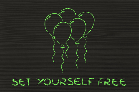 uplift: psychology and feelings: concept of rising from fears and worries, balloon metaphor