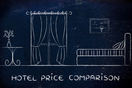 hotel reviews: travel and accomodation industry: concept of hotel price comparison, illustration of room interior