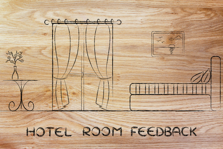 accomodation: travel and accomodation industry: concept of hotel room feedback, illustration of room interior