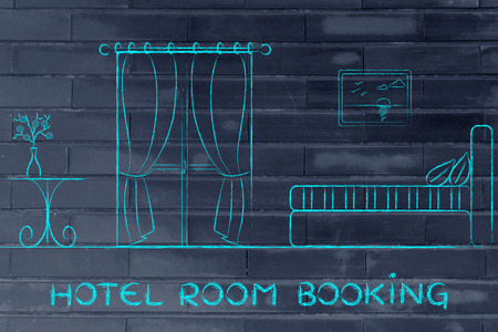 accomodation: travel and accomodation industry: concept of hotel booking, illustration of room interior Stock Photo