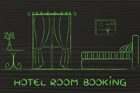 hotel booking: travel and accomodation industry: concept of hotel booking, illustration of room interior Stock Photo