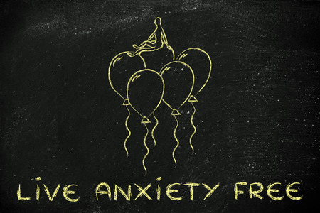 meditation help: psychology and feelings: living free from anxiety, metaphor of person sitting on balloons Stock Photo