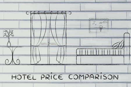 accomodation: travel and accomodation industry: concept of hotel price comparison, illustration of room interior