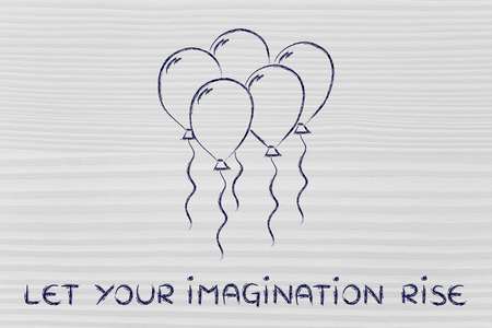 freedom of thought: creativity and imagination, metaphor with group of balloons flying free