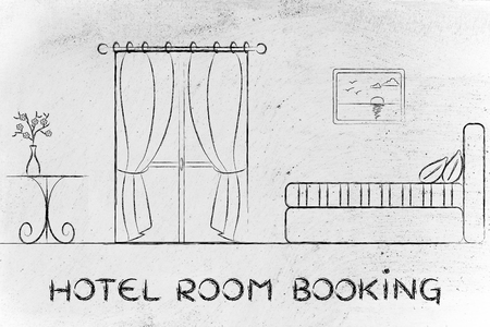 hotel reviews: travel and accomodation industry: concept of hotel booking, illustration of room interior Stock Photo
