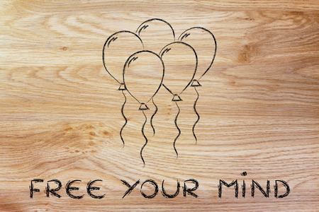 uplift: psychology and feelings: concept of freeing your mind, balloon metaphor