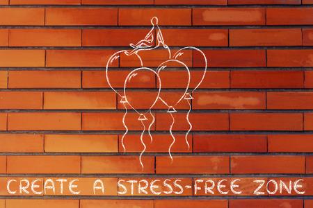 persona seduta: create a stress-free zone, metaphor of person sitting on balloons Archivio Fotografico