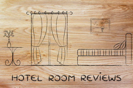 hotel reviews: hotel comparison and reviews; illustration with guest room details Stock Photo