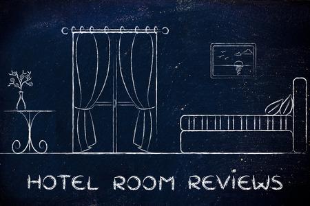 guest room: confronto hotel ed opinioni; illustrazione con dettagli camera per gli ospiti