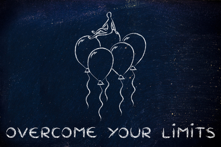 health problems: overcoming your limits, metaphor of person flying on balloons