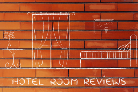 reviews: hotel comparison and reviews; illustration with guest room details Stock Photo