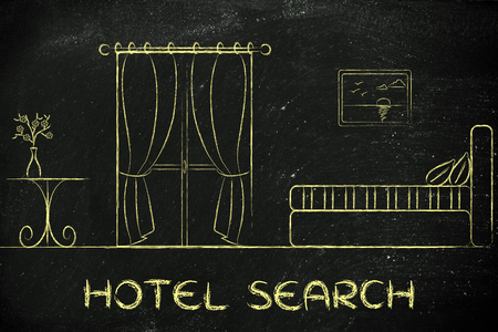 accomodation: travel and accomodation industry: concept of hotel search, illustration of room interior